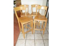 4 Solid Pine Bar Stools