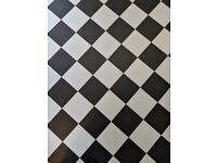Upcycling Black and White Chequered Vinyl Flooring Offcuts
