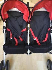 DOLLS Silver cross double buggy