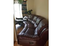 Electric Leather Double Recliner Corner Sofa