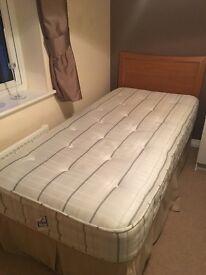 Single bed with oak headboard