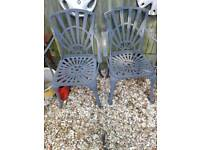 2x metal garden chairs
