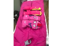 GIRLS SKI JACKET, SALOPETTES AND MITTENS. AGED 7-8 YEARS