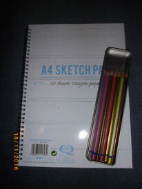 Derwent metallic coloured pencils (7 slightly used) and brand new A4 sketchpad
