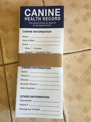 12 Canine Dog Puppy Health Record Vaccine Shot Folder Booklet FREE - Nip Puppy Dog