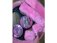 Pink fluffy car accessories.Christmas gift?