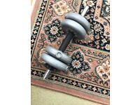 York vinyl dumbbell barbell set of weights