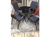 4 Seater Patio Furniture with Glass Table - Black Mesh Leanback