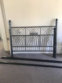 Double metal grey bed frame