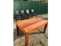 Wooden Dinning Table + 4 Bi-Cast Leather Chairs