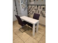 Harvey's Gloss White Dining Table and 2 Capri Style Chairs (Purple), 4