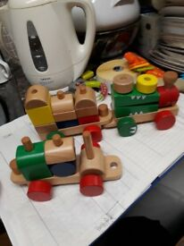 Wooden Pull along train - Stacking baby toy toddler