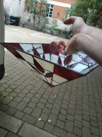 Tiffany glass red and white light shade excellent central Ldn bargain