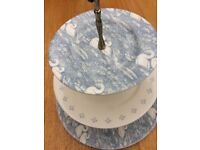Cake Stand - Pale blue and white - Laura Ashley