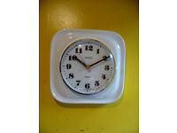 VINTAGE 1960S MID CENTURY WHITE & CHROME KIENZLE CERAMIC KITCHEN WALL CLOCK