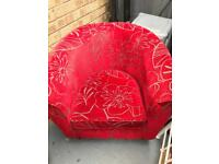 "Red ""Bucket Style"" Armchair"