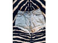 Pale Blue Denim Levi's Shorts - UK 10
