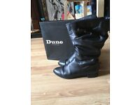 Dune Black leather rouched calf boots size 7/40