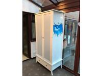 Solid Wood White Wardrobe With 'Sky' Mural