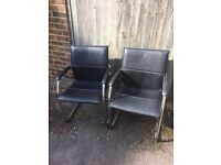 Black Faux Leather Office / Waiting Room Chairs
