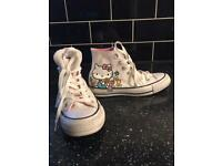 Size 3 limited edition hello kitty converse high top trainers