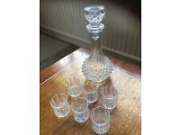Crystal decanter and six shot glasses
