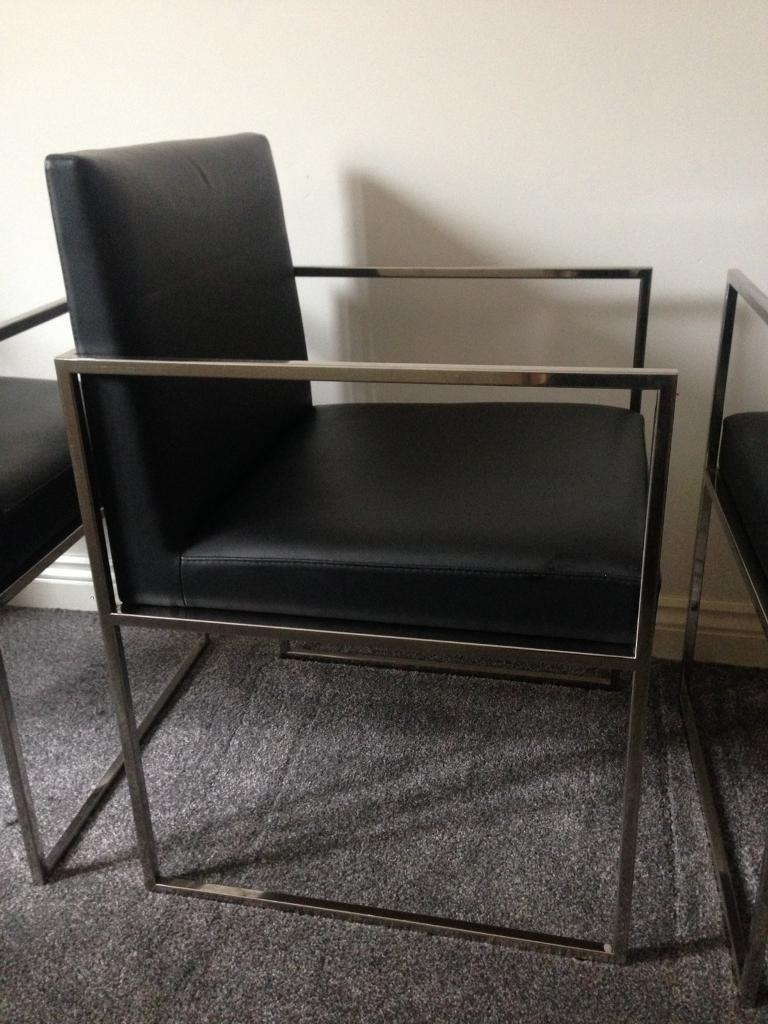 3 Stunning Chrome Frame Contemporary Reception/ Bedroom/ Dining chairs