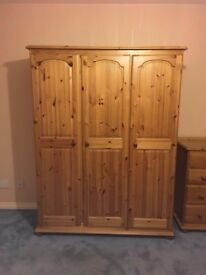 Pine wardrobe, Chest of Drawers and Bedside Table (used)