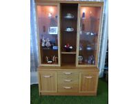 wall unit display case, sideboard - glass fronted with lights