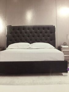 NIB king size bed with dark grey fabric frame and headboard