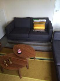 Karlstad Ikea Antracite 2 seater with Chrome legs
