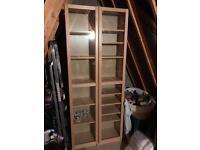 2 x Ikea Billy Bookcases with glass doors - Birch Veneer