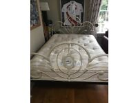 Double bed frame in cream metal with slatted base ( includes mattress if wanted )
