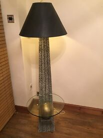Free standing light fitting with glass table