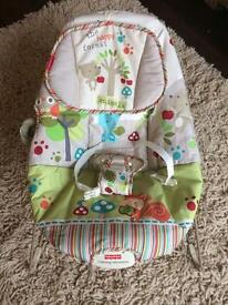 Happy forest baby bouncer calm vibrations musical Fisher Price
