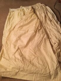 """Two pairs (4) cream curtains, lined, 2 x 70"""" drop, 2 x 66"""" drop, 77"""" wide (each curtain)"""