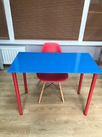 Blue glass desk