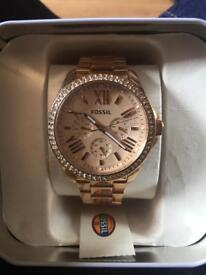 Brand new ladies rose gold fossil watch