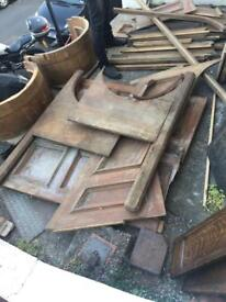 Architectural salvage, Victorian oak panels, tub chairs and mouldings