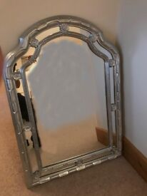 LARGE SILVER COLOURED PAINTED ORNATE OVER-MANTEL MIRROR