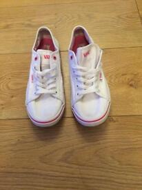 Pink and white vans trainers