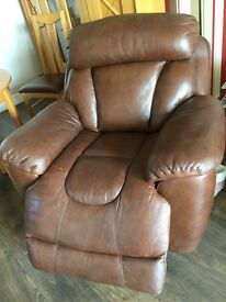 Electric reclining settee and arm chair