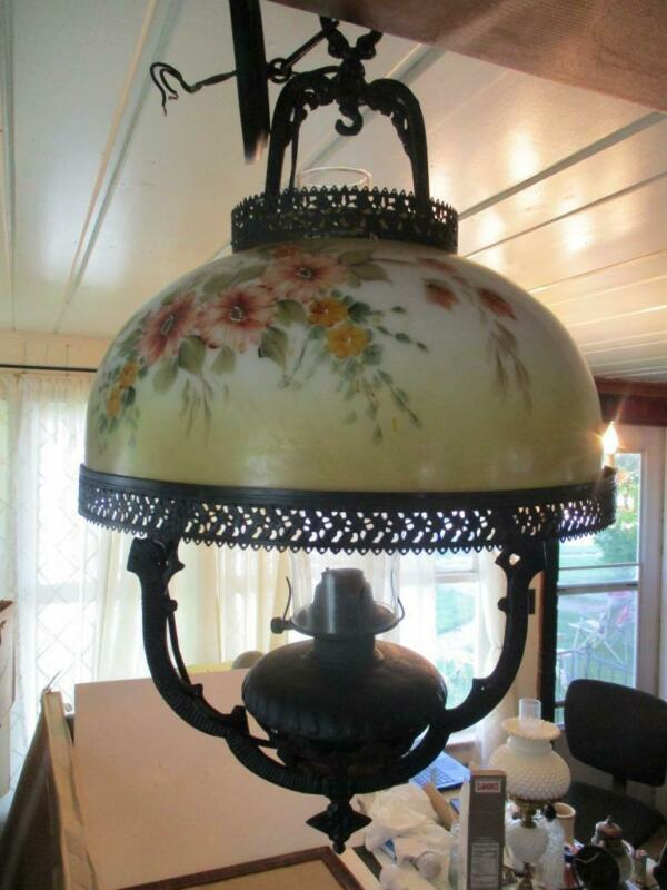 "Antique 24"" Electrified Hanging Oil Lamp W/14"" Hand Painted Floral Glass Shade"