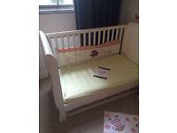 Mamas & Papas Mia Cot/Toddler Bed (rrp £350) and Naturalmat Mattress (rrp £175)