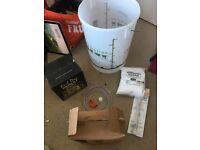 Home Brewing Beer Kit, bucket, brewing sugar, cleaner, Brew Dog IPA kit, hydrometer