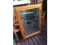 LARGE SOLID PINE FRAMED BEVEL EDGED MIRROR - CAN DELIVER