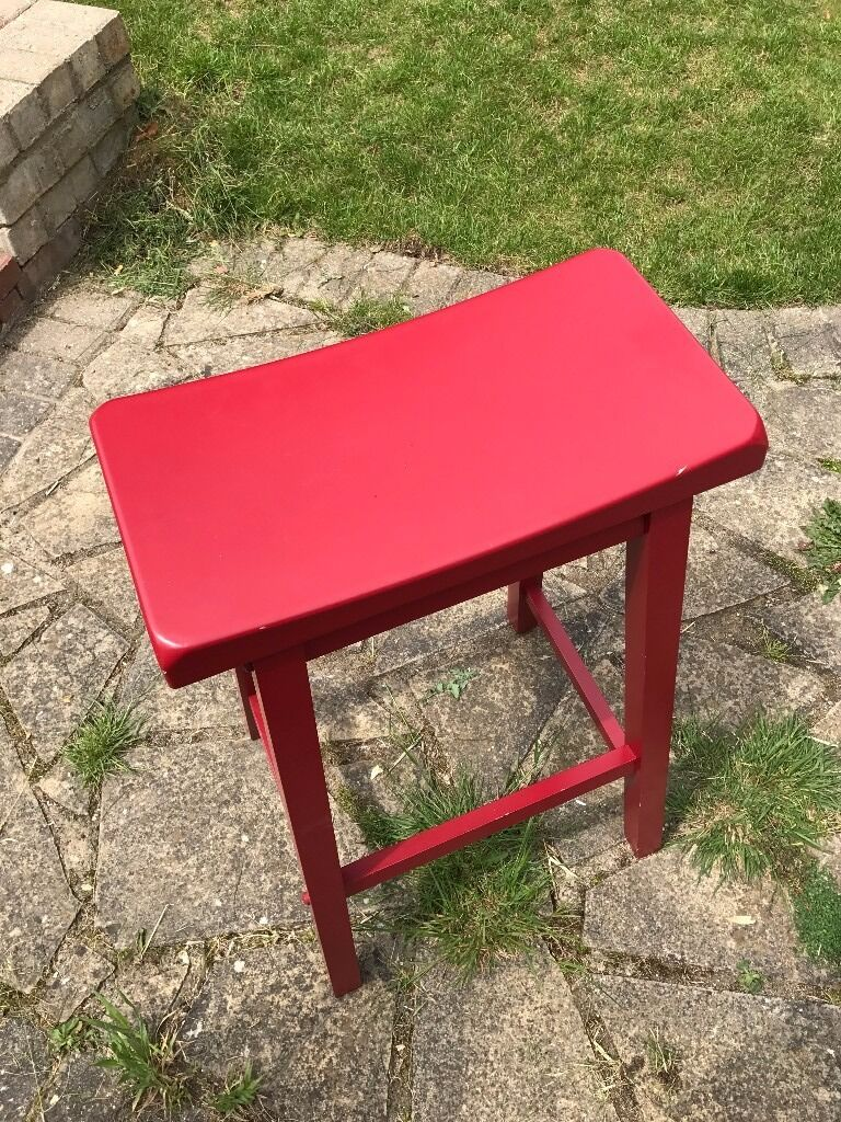 Hygena Solid Wood Saddle Bar Stool Red