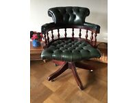 Green Leather Chesterfield Style Captains Swivel Office Chair on Casters