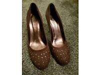 Suede embellished aubergine heels - size 6