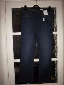 New M&S Dark Indigo Crop Flare Jeans Size 8 Regular IP1